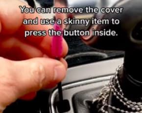 Press the Manual Override Button to Release Transmission Stuck in Park