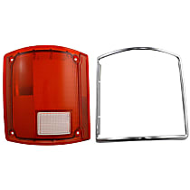 Replacement Tail Light Lens - 11-1283-09 - Driver Side, Red, Plastic, Direct Fit, Sold individually