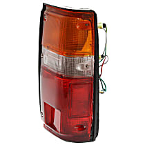 Passenger Side Tail Light, With bulb(s) - Amber, Clear & Red Lens, w/ Black Trim