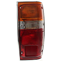 Passenger Side Tail Light, With bulb(s) - Amber, Clear & Red Lens, w/ Chrome Trim