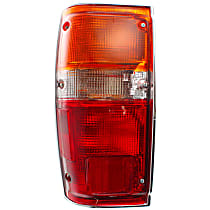 Driver Side Tail Light, With bulb(s) - Amber, Clear & Red Lens, w/ Chrome Trim