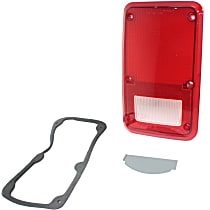 Replacement Tail Light Lens - 11-1435-02 - Passenger Side, Red, Plastic, Direct Fit, Sold individually