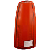 Replacement Tail Light Lens - 11-1914-01 - Driver Side, Red and clear, Plastic, Direct Fit, Sold individually
