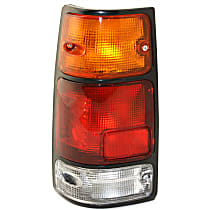 Driver Side Tail Light, With bulb(s) - Amber, Clear & Red Lens, w/ Black Trim