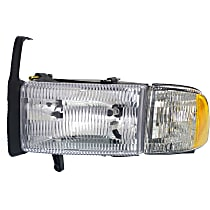 Driver Side Headlight, With bulb(s) - Single Beam Old Body Style, w/ Corner Light