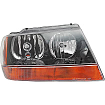 Passenger Side Headlight, With bulb(s) - 99-04 Grand Cherokee (Laredo/Sport/Columbia/Freedom/Special Edition Model), Prod Date up to 01/02/2002, w/ amber Turn Signal lens, w/ Wiring harness