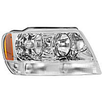 Passenger Side Headlight, With bulb(s) - 99-04 Grand Cherokee (Limited/Overland Model)