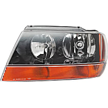 Driver Side Headlight, With bulb(s) - (Laredo/Sport/Columbia/Freedom/Special Edition Model), Prod Date up to 01/02/2002, w/ amber Turn Signal lens, w/ Wiring harness