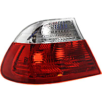 Driver Side, Outer Tail Light, Without bulb(s) - Clear & Red Lens, Coupe, To 3-03