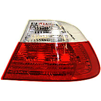 Passenger Side, Outer Tail Light, Without bulb(s) - Clear & Red Lens, Coupe, To 3-03