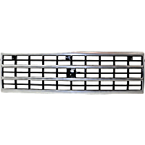 Grille Assembly - Silver Shell with Dark Gray Insert, with Single Headlights