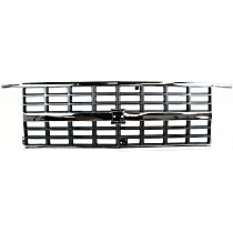 Grille Assembly - Chrome Shell with Painted Gray Insert, with Dual Headlights