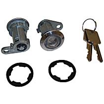 Door Lock Cylinder - Chrome, Direct Fit, Kit