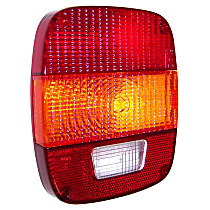 83501003 Tail Light Lens - Front, Red and clear, Plastic, Direct Fit, Sold individually