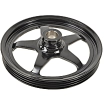 3P-23136 Power Steering Pump Pulley - Black, Steel, Serpentine, Direct Fit, Sold individually