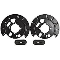 3S-00128 Brake Dust Shields - Black, Metal, Direct Fit Rear, Set of 2