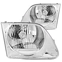 Driver and Passenger Side Headlight, With bulb(s) - Clear Lens Chrome Interior