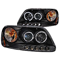 Driver and Passenger Side Headlight, With bulb(s) - Clear Lens Black Interior, Halogen Projector LED Halo