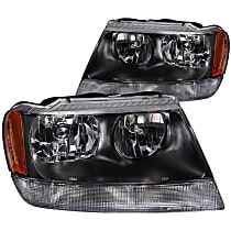 Driver and Passenger Side Headlight, With bulb(s) - Crystal, Black