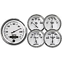 1200 Gauge Set - Electric, Mechanical, Speedometer; Oil Pressure Gauge; Water Temperature Gauge; Voltage Gauge; Fuel Level Gauge, Universal, Set of 5
