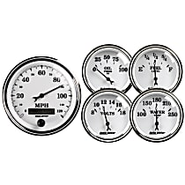 Gauge Set - Electric, Mechanical, Speedometer; Oil Pressure Gauge; Water Temperature Gauge; Voltage Gauge; Fuel Level Gauge, Universal, Set of 5