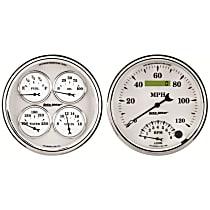 Gauge Set - Electric, Speedometer/Tachometer; Oil Pressure Gauge; Water Temperature Gauge; Voltage Gauge; Fuel Level Gauge, Universal, Set of 2