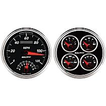 1204 Gauge Set - Electric, Speedometer/Tachometer; Oil Pressure Gauge; Water Temperature Gauge; Voltage Gauge; Fuel Level Gauge, Universal, Set of 2