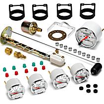 1300-00408 Gauge Set - Electric, Speedometer; Oil Pressure Gauge; Water Temperature Gauge; Voltage Gauge; Fuel Level Gauge, Universal, Set of 5