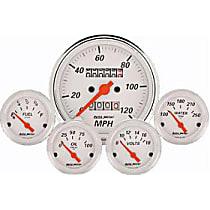 1300 Gauge Set - Electric, Mechanical, Speedometer; Oil Pressure Gauge; Water Temperature Gauge; Voltage Gauge; Fuel Level Gauge, Universal, Set of 5