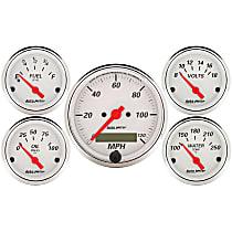 1302 Gauge Set - Electric, Mechanical, Speedometer; Oil Pressure Gauge; Water Temperature Gauge; Voltage Gauge; Fuel Level Gauge, Universal, Set of 5