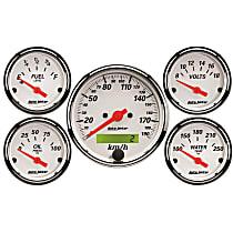 1302-M Gauge Set - Electric, Speedometer; Oil Pressure Gauge; Water Temperature Gauge; Voltage Gauge; Fuel Level Gauge, Universal, Set of 5