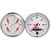 1308 Gauge Set - Electric, Speedometer; Oil Pressure Gauge; Water Temperature Gauge; Voltage Gauge; Fuel Level Gauge, Universal, Set of 2