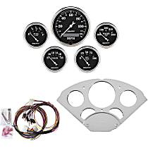 7033-OTB Gauge Set - Mechanical, Speedometer; Oil Pressure Gauge; Water Temperature Gauge; Voltage Gauge; Fuel Level Gauge, Direct Fit, Set of 5