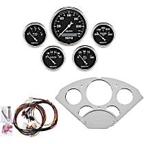 Autometer 7033-OTB Gauge Set - Mechanical, Speedometer; Oil Pressure Gauge; Water Temperature Gauge; Voltage Gauge; Fuel Level Gauge, Direct Fit, Set of 5