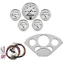 7033-OTW Gauge Set - Mechanical, Speedometer; Oil Pressure Gauge; Water Temperature Gauge; Voltage Gauge; Fuel Level Gauge, Direct Fit, Set of 5