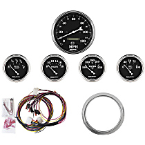 7034-OTB Gauge Set - Mechanical, Speedometer; Oil Pressure Gauge; Water Temperature Gauge; Voltage Gauge; Fuel Level Gauge, Direct Fit, Set of 5