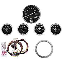 Autometer 7034-OTB Gauge Set - Mechanical, Speedometer; Oil Pressure Gauge; Water Temperature Gauge; Voltage Gauge; Fuel Level Gauge, Direct Fit, Set of 5
