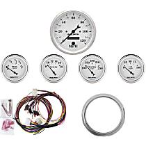 Autometer 7034-OTW Gauge Set - Mechanical, Speedometer; Oil Pressure Gauge; Water Temperature Gauge; Voltage Gauge; Fuel Level Gauge, Direct Fit, Set of 5