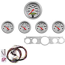 7035-UL Gauge Set - Mechanical, Speedometer; Oil Pressure Gauge; Water Temperature Gauge; Voltage Gauge; Fuel Level Gauge, Direct Fit, Set of 5