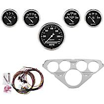 7036-OTB Gauge Set - Mechanical, Speedometer; Oil Pressure Gauge; Water Temperature Gauge; Voltage Gauge; Fuel Level Gauge, Direct Fit, Set of 5
