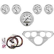 Autometer 7036-OTW Gauge Set - Mechanical, Speedometer; Oil Pressure Gauge; Water Temperature Gauge; Voltage Gauge; Fuel Level Gauge, Direct Fit, Set of 5