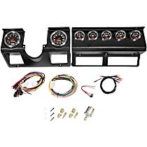 Autometer 7040 Gauge Set - Electric, Plastic, Speedometer; Tachometer; Oil Pressure Gauge; Water Temperature Gauge; Voltage Gauge; Fuel Level Gauge; Transmission Temperature Gauge, Direct Fit