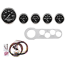 7042-OTB Gauge Set - Mechanical, Speedometer; Oil Pressure Gauge; Water Temperature Gauge; Voltage Gauge; Fuel Level Gauge, Direct Fit, Set of 5