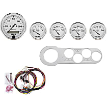 Autometer 7042-OTW Gauge Set - Mechanical, Speedometer; Oil Pressure Gauge; Water Temperature Gauge; Voltage Gauge; Fuel Level Gauge, Direct Fit, Set of 5