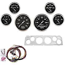 7043-OTB Gauge Set - Mechanical, Speedometer; Tachometer; Oil Pressure Gauge; Water Temperature Gauge; Voltage Gauge; Fuel Level Gauge, Direct Fit, Set of 6