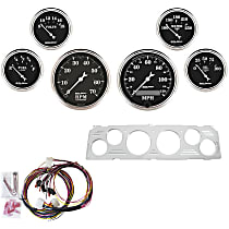 Autometer 7043-OTB Gauge Set - Mechanical, Speedometer; Tachometer; Oil Pressure Gauge; Water Temperature Gauge; Voltage Gauge; Fuel Level Gauge, Direct Fit, Set of 6