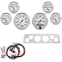 7043-OTW Gauge Set - Mechanical, Speedometer; Tachometer; Oil Pressure Gauge; Water Temperature Gauge; Voltage Gauge; Fuel Level Gauge, Direct Fit, Set of 6