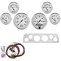 Autometer 7043-OTW Gauge Set - Mechanical, Speedometer; Tachometer; Oil Pressure Gauge; Water Temperature Gauge; Voltage Gauge; Fuel Level Gauge, Direct Fit, Set of 6