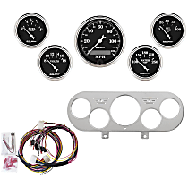 7044-OTB Gauge Set - Mechanical, Speedometer; Oil Pressure Gauge; Water Temperature Gauge; Voltage Gauge; Fuel Level Gauge, Direct Fit, Set of 5