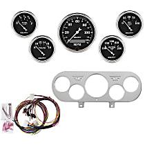 Autometer 7044-OTB Gauge Set - Mechanical, Speedometer; Oil Pressure Gauge; Water Temperature Gauge; Voltage Gauge; Fuel Level Gauge, Direct Fit, Set of 5